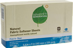 Seventh Generation Natural Fabric Softener Sheets Blue Eucalyptus and Lavender 65 Sheets