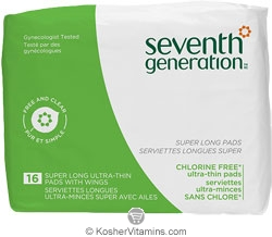 Seventh Generation Ultra Thin Pads Super Long with Wings Chlorine Free 16 Count