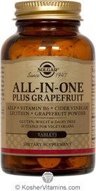 Solgar All-In-One Plus Grapefruit Vegetarian Suitable Not Certified Kosher 250 Tablets