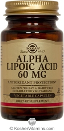 Solgar Kosher Alpha Lipoic Acid 60 Mg. 30 Vegetable Capsules