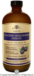 Solgar Kosher Calcium Magnesium Citrate with Vitamin D3 Liquid Blueberry Flavor 16 OZ