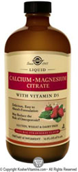 Solgar Kosher Calcium Magnesium Citrate with Vitamin D3 Liquid Strawberry Flavor 16 OZ