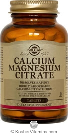 Solgar Kosher Calcium Magnesium Citrate 250 Tablets