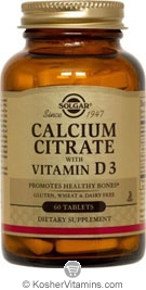 Solgar Kosher Calcium Citrate with Vitamin D3 120 Tablets