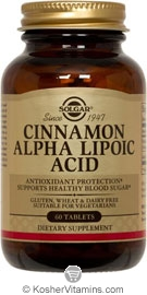 Solgar Kosher Cinnamon Alpha Lipoic Acid 60 Tablets