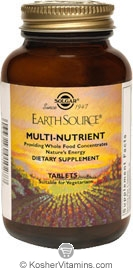 Solgar Earth Source Multi-Nutrient Vegetarian Suitable not Certified Kosher 180 Tablets