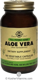Solgar Kosher FP Aloe Vera 100 Vegetable Capsules