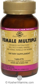 Solgar Female Multiple Tablets Vegetarian Suitable Not Certified Kosher 60 Tablets