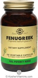 Solgar Kosher FP Fenugreek  100 Vegetable Capsules