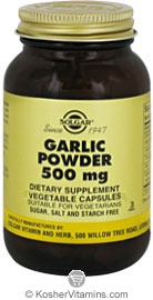 Solgar Kosher Garlic Powder 500 Mg 180 Vegetable Capsules