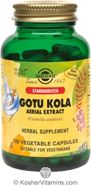 Solgar Kosher Standardized Gotu Kola Aerial Extract 100 Vegetable Capsules