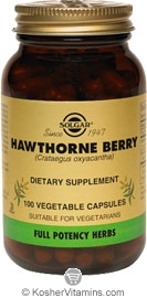 Solgar Kosher FP Hawthorne Berry  100 Vegetable Capsules