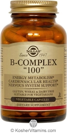 Solgar Kosher B Complex 100 Mg 100 Vegetable Capsules