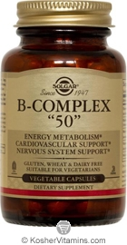Solgar Kosher B Complex 50 Mg 100 Vegetable Capsules