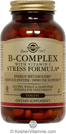 Solgar Kosher B Complex with Vitamin C Stress Formula 250 Tablets