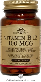 Solgar Kosher Vitamin B12 100 Mcg 100 Tablets