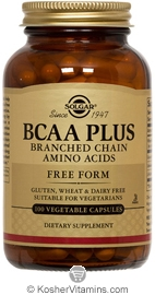 Solgar Kosher BCAA Plus (Branched Chain Amino Acids) 100 Vegetable Capsules