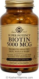 Solgar Kosher Biotin 5000 Mcg 50 Vegetable Capsules