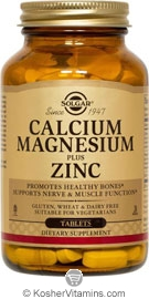 Solgar Kosher Calcium Magnesium Plus Zinc 100 Tablets