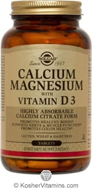Solgar Kosher Calcium Magnesium with Vitamin D3 150 Tablets