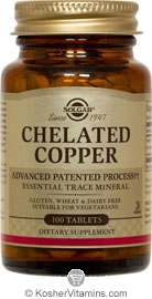 Solgar Kosher Chelated Copper 100 Tablets