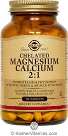 Solgar Kosher Chelated Magnesium Calcium 2:1 90 Tablets