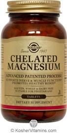 Solgar Kosher Chelated Magnesium  100 Tablets