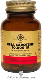 Solgar Kosher Dry Beta Carotene 10,000 IU 100 Tablets