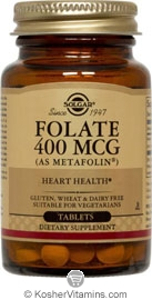Solgar Kosher Folate 400 Mcg (Metafolin) 100 Tablets