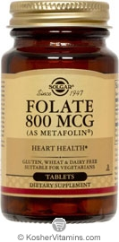 Solgar Kosher Folate 800 Mcg (as Metafolin) 100 Tablets
