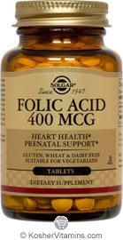 Solgar Kosher Folic Acid 400 Mcg 100 Tablets