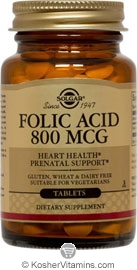 Solgar Kosher Folic Acid 800 Mcg.  250 Tablets