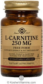 Solgar Kosher L-Carnitine 250 mg 30 Vegetable Capsules