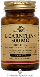 Solgar Kosher L-Carnitine 500 mg 30 Tablets