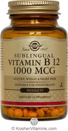 Solgar Kosher Vitamin B12 1000 Mcg Sublingual Cherry Flavor 250 Nuggets