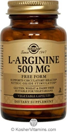 Solgar Kosher L-Arginine 500 Mg 100 Vegetable Capsules
