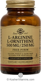 Solgar Kosher L-Arginine/L-Orinthine 500/250 Mg 100 Vegetable Capsules