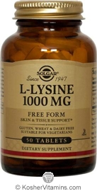 Solgar Kosher L-Lysine 1000 mg 100 Tablets