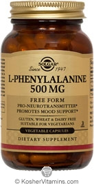 Solgar Kosher L-Phenylalanine 500 Mg 100 Vegetable Capsules