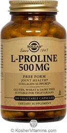 Solgar Kosher L-Proline 500 Mg 100 Vegetable Capsules
