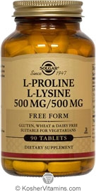 Solgar Kosher L-Proline/L-Lysine (500/500 mg)  90 Tablets