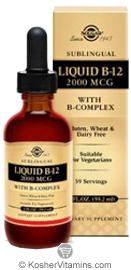 Solgar Kosher B12 2000 Mcg with B-Complex Liquid Berry Flavor 2 OZ