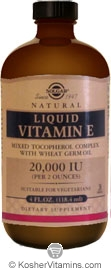 Solgar Natural Liquid Vitamin E Vegetarian Suitable Not Certified Kosher  4 OZ