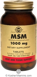 Solgar Kosher MSM 1000 Mg 60 Tablets