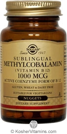Solgar Kosher Methylcobalamin (Vitamin B12) 1000 mcg Natural Cherry Flavor 60 Nuggets