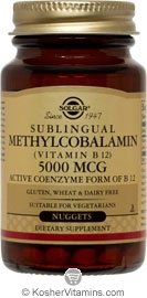 Solgar Kosher Methylcobalamin (Vitamin B12) 5000 mcg Natural Cherry Flavor 30 Nuggets