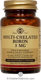 Solgar Kosher Multi-Chelated Boron 3 Mg  100 Vegetable Capsules