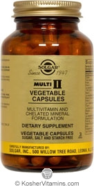 Solgar Kosher Multi II Muti-Vitamin & Mineral Formula 180 Vegetable Capsules