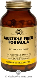 Solgar Multiple Fiber Formula Vegetarian Suitable Not Certified Kosher 120 Vegetable Capsules