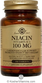 Solgar Kosher Niacin 100 Mg 100 Tablets